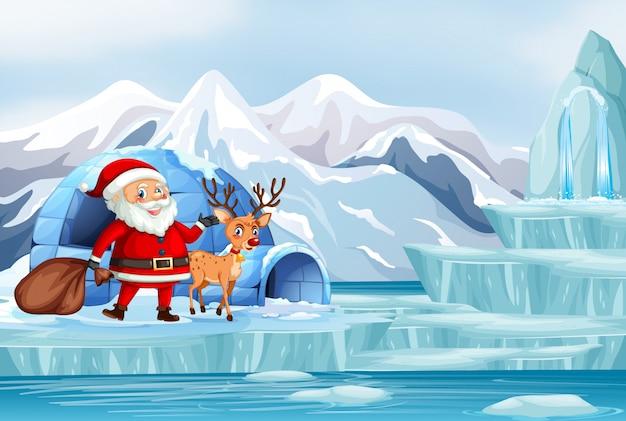 Escena navideña con santa y renos