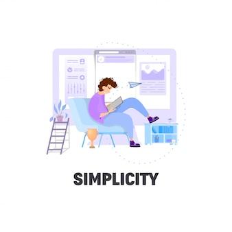 Escena de negocios con gente pequeña, concepto de simplicidad.