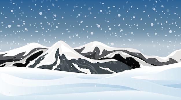 Escena con nevando en el campo.