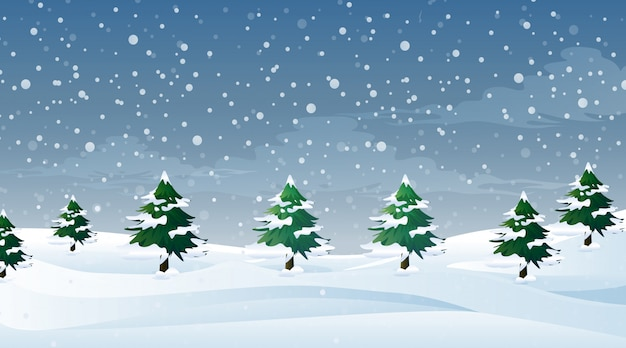 Escena con nieve cayendo en el campo