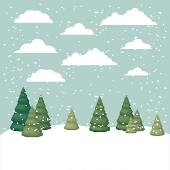 Escena de nieve con escena de pinos