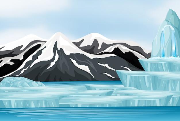 Escena con nieve en las montañas