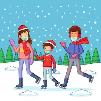 Escena de nieve navideña con familia con máscaras.