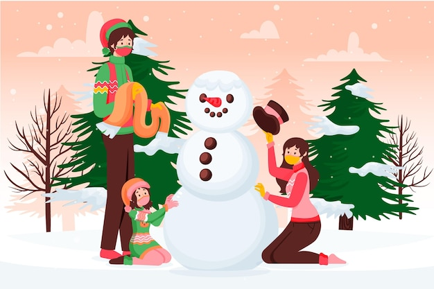 Escena de nieve navideña - con máscaras
