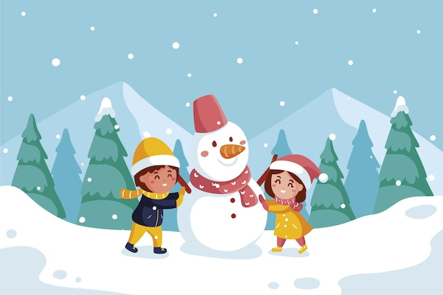 Escena de nieve navideña