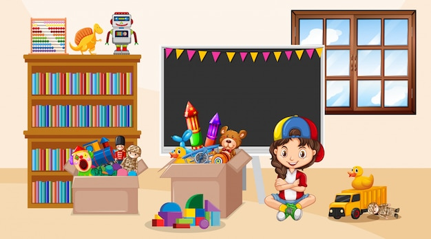 Escena con niña jugando en la habitación
