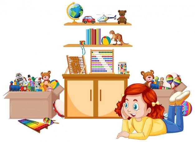 Escena con niña jugando juguetes en la habitación