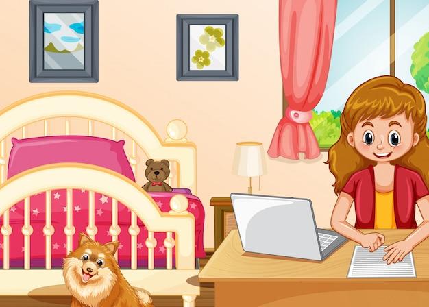 Escena con niña trabajando en computadora en el dormitorio.