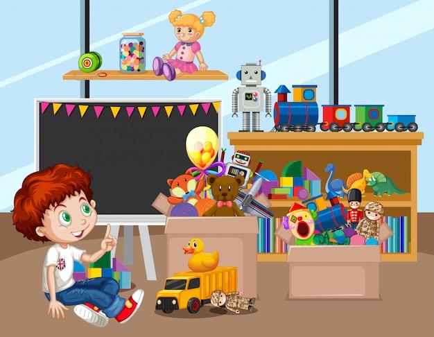 Escena con niño feliz jugando en la habitación