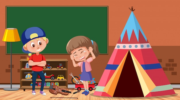 Escena con niño intimidando a su amigo en la habitación.