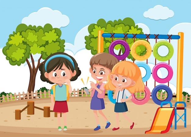 Escena con niño intimidando a su amigo en el parque