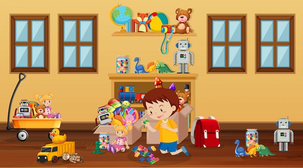 Escena con niño jugando en la habitación