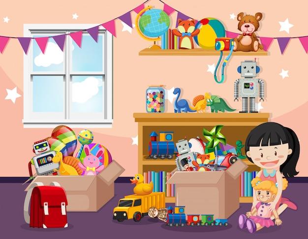 Escena con un niño jugando con muchos juguetes en la habitación