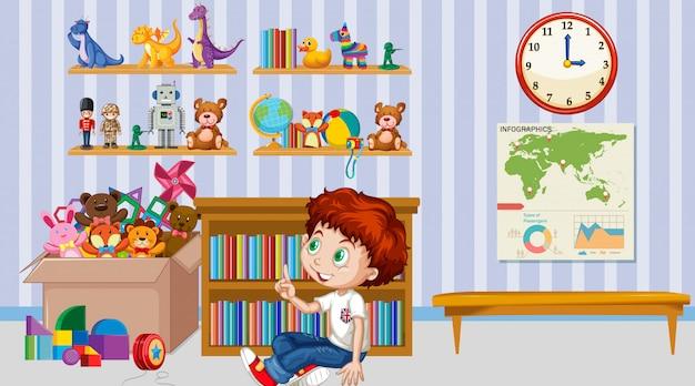 Escena con niño jugando solo en la habitación