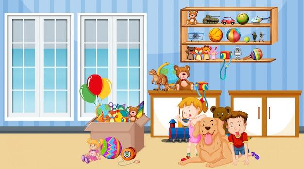Escena con niño y niña jugando en la habitación
