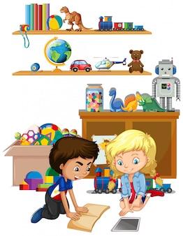 Escena con niño y niña leyendo en la habitación