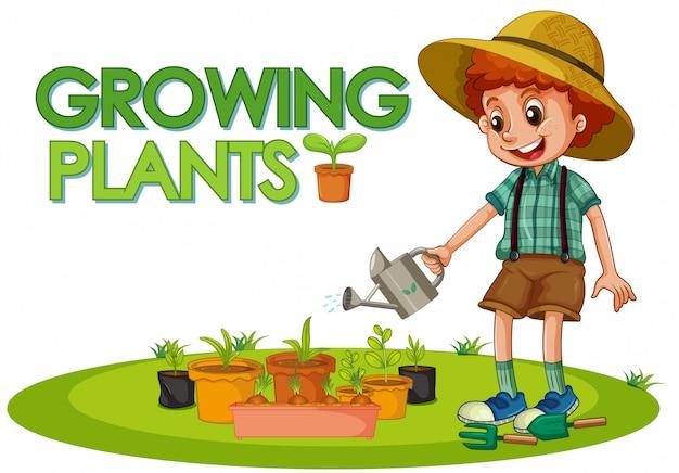 Escena con un niño plantando árboles en el jardín