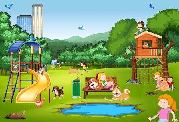 Escena con niños y animales en el parque.