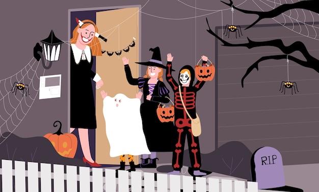 Escena de niños con disfraces espeluznantes que juegan a truco o trato en el día de halloween