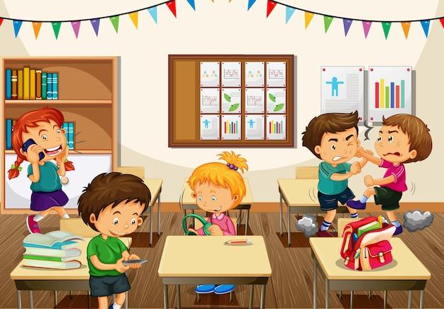 Escena con niños de la escuela realizando diferentes actividades en el aula.