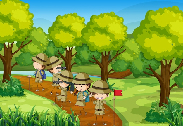 Escena con niños explorando el bosque