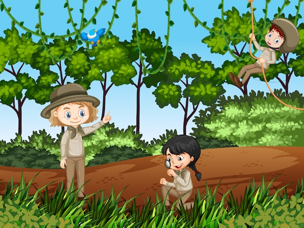 Escena con niños explorando la naturaleza.