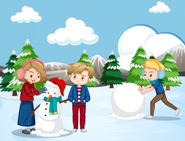 Escena con niños felices haciendo muñeco de nieve en el campo de nieve
