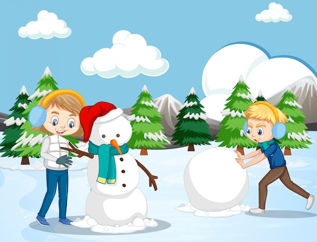 Escena con niños haciendo muñeco de nieve en el campo de nieve