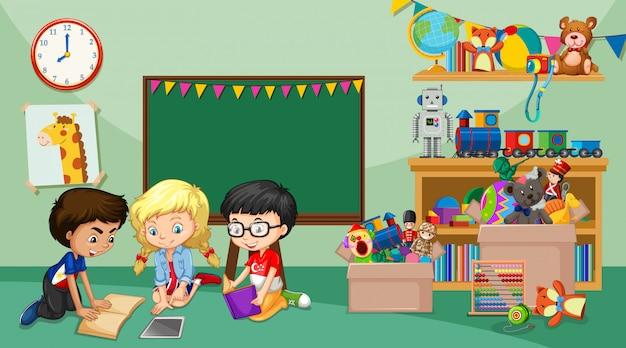 Escena con niños jugando en la habitación.