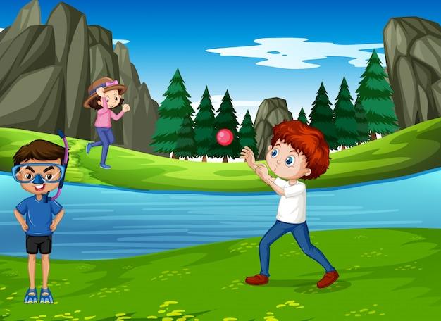 Escena con niños jugando en el parque