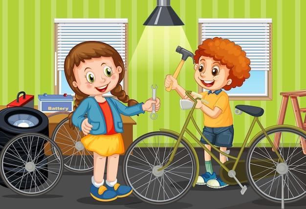 Escena con niños reparando bicicleta juntos.