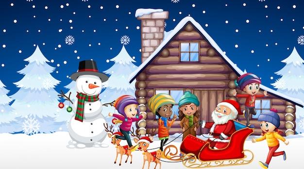 Escena con niños y santa en la noche de navidad