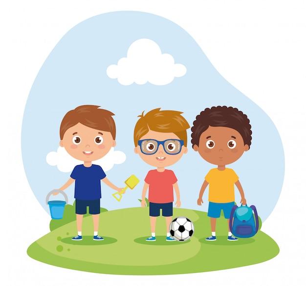 Escena de niños sonriendo en el paisaje, ilustración de regreso a la escuela