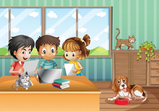 Escena con niños trabajando en la computadora en casa