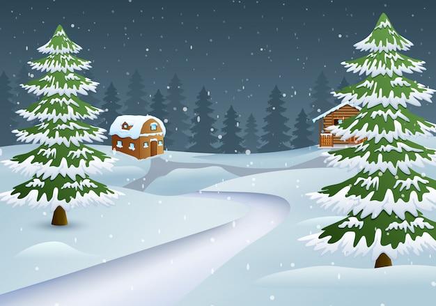 Escena de la noche de navidad con una casa de madera nevada y abetos