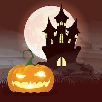 Escena de la noche oscura de halloween con calabaza y castillo