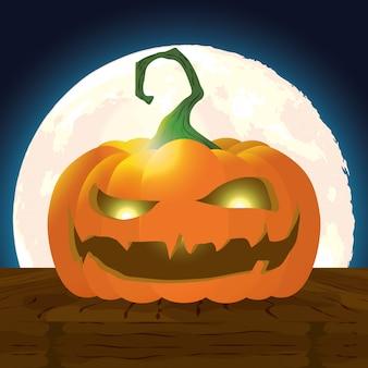 Escena de la noche oscura de halloween con calabaza