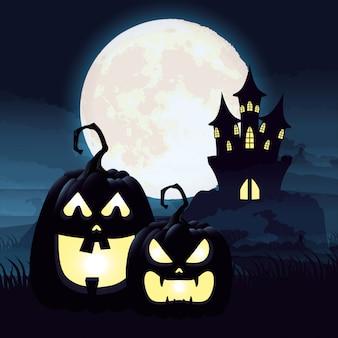 Escena de la noche oscura de halloween con calabazas y castillo