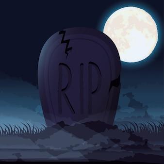 Escena de noche oscura de halloween con cementerio cementerio