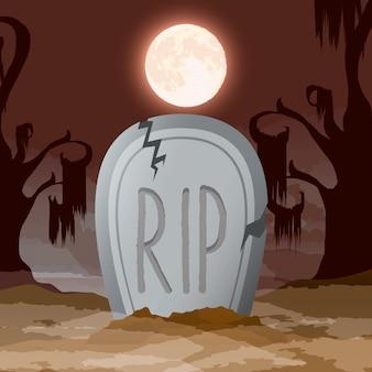 Escena de noche oscura de halloween con cementerio