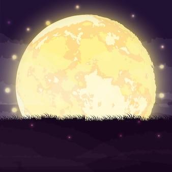 Escena de noche oscura de halloween con luna llena