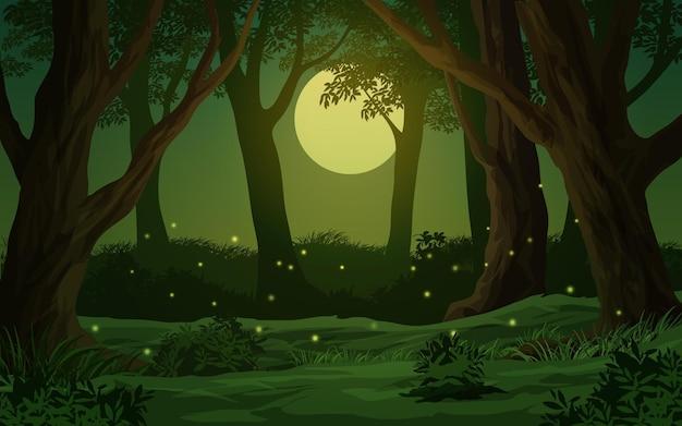 Escena nocturna de bosque de dibujos animados con luna llena y luciérnaga