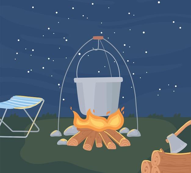 Escena nocturna de camping