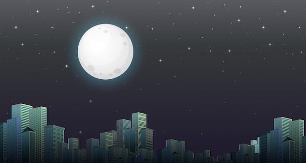 Escena nocturna de la ciudad moderna.