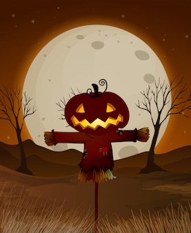 Escena nocturna de luna llena de halloween