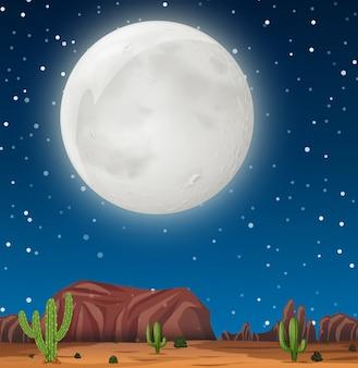 Una escena nocturna en el desierto.