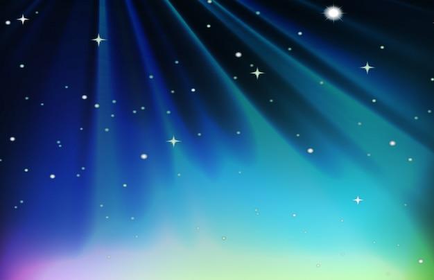 Escena nocturna con estrellas en el cielo.