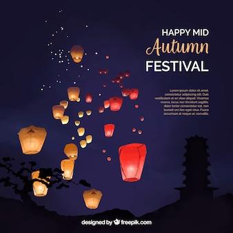 Escena nocturna, festival del medio otoño