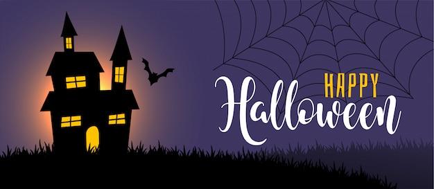 Escena nocturna de halloween con casa y bate.