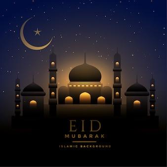 Escena nocturna hermosa fondo eid con mezquita y luna